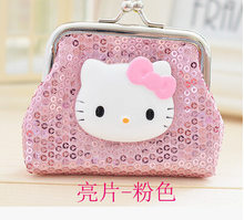 35775204c Fashion Hello Kitty Coin Purse Cartoon Cute Small Wallet Sequin Coin Bag  For Kid Gift Bolsas Girl Wallet Coin Bag