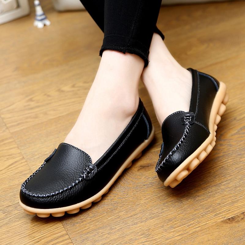 97cf24f55cd08 Zapatos de Mujer 2016 Cuero Genuino de Las Mujeres Zapatos de Los Planos 5  Colores Loafers Slip On Zapatos Mocasines Planos Ocasionales de Las Mujeres  Más ...