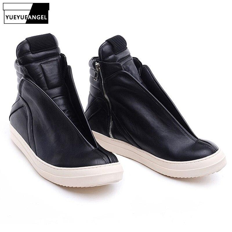 Hommes chaussures haut de gamme cheville baskets de luxe en cuir véritable hommes bottes mode noir rue Hip Hop chaussures Designer bottes - 2