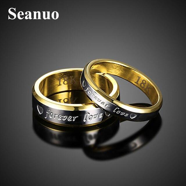 8f46dfce37ab2 Forever love couple Seanuo Hot ouro amarelo anel de dedo jóias Dia Dos  Namorados moda marca