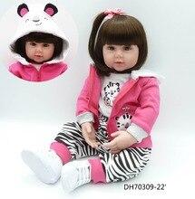 High-end Princess Doll 55cm Reborn Toddler Baby Doll Brun Hår Handgjord Bomull Kropp Lifelike Bebe Juguetes Girls Leksaker Bonecas