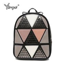 Ybyt бренд 2017 модная новинка в консервативном стиле с заклепками Геометрическая Лоскутная рюкзак кольцо Дамы дорожная сумка школьные рюкзаки