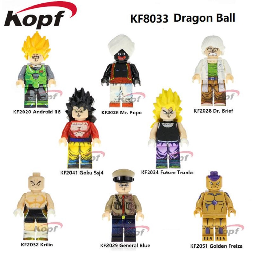 Building Blocks Single Sale Dragon Ball Z Figure Mr. Popo Vermouth General Blue Android 16 Super Heroes Toys For Children KF8033