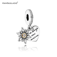Pandulaso Real Golden Snowflake & Warm Heart Crystal Charms for Women Fashion Winter Silver 925 Jewelry Making Fit DIY Bracelets