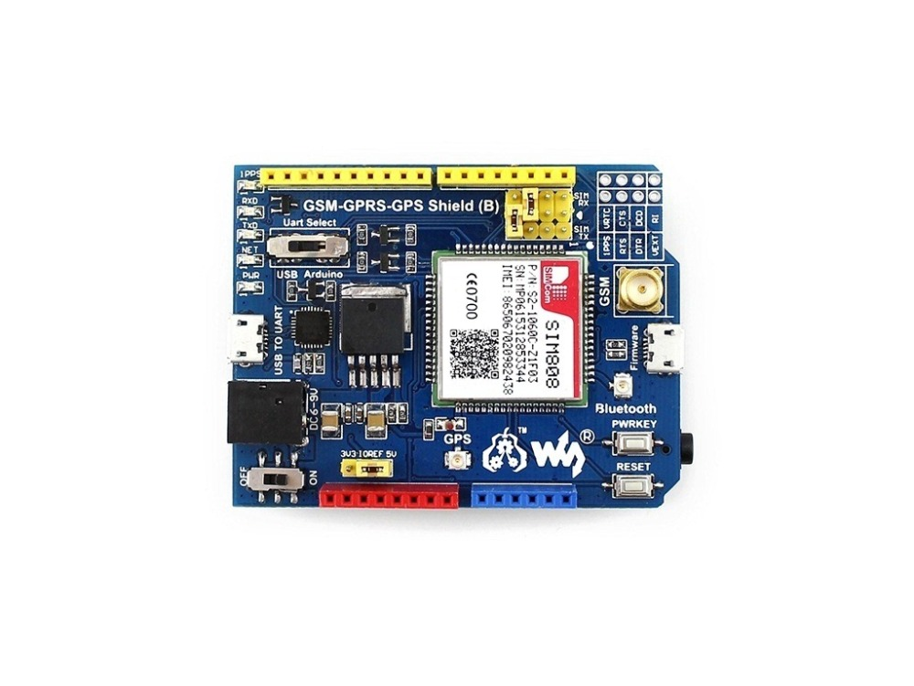 GSM/GPRS/GPS Shield (B) GSM Phone Shield Quad-band Module SIM808 Bluetooth Module GSM 850/EGSM 900/DCS 1800/PCS 1900 MHz huawei me936 4 g lte module ngff wcdma quad band edge gprs gsm penta band dc hspa hsp wwan card