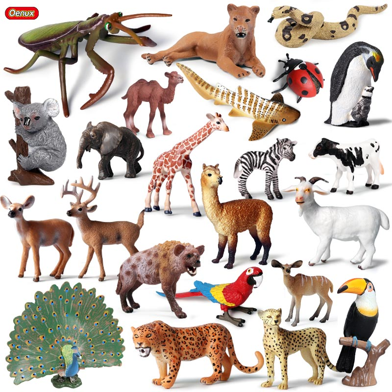 Oenux Original Wild Animals Leopard Lion Model Action Figure Alpaca Peacock Spider Figurines Miniature Collection Toys For Kids