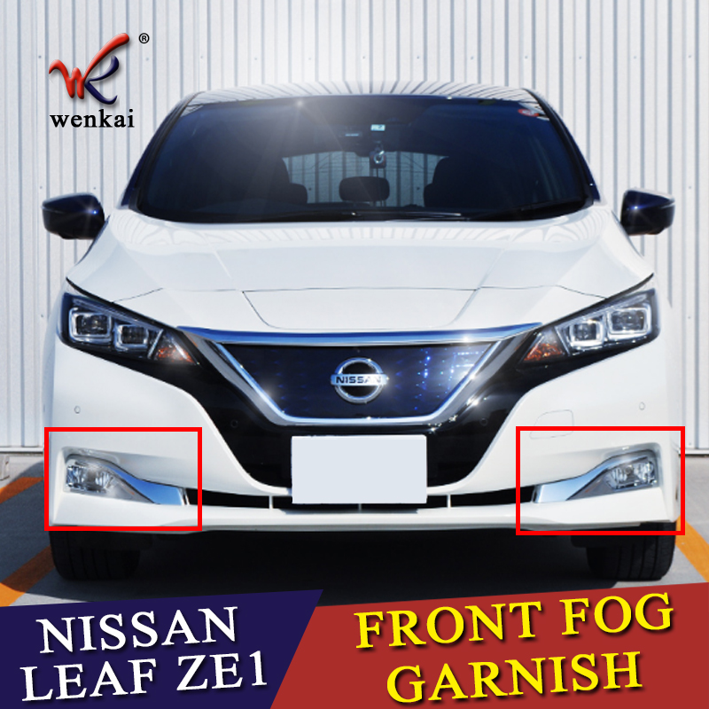 Fit For Nissan Leaf ZE1 Front Fog Lamp Cover Garnish Trim Car Styling Chrome Accessories 2 pcs