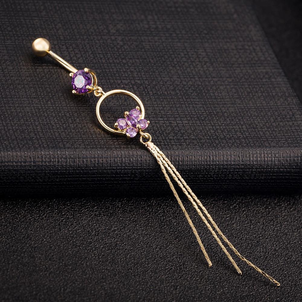 HTB1xd3oKVXXXXcHXXXXq6xXFXXXm Stunning Women Butterfly Zirconia Gem Belly Button Ring Tassels Body Piercing Jewelry - 3 Colors