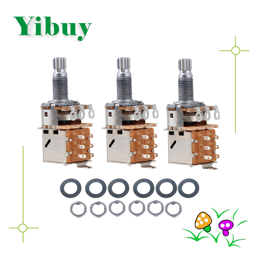 Yibuy 3x Push Pull Guitar Potentiometer A500k Coil Tap 18mm Shaft
