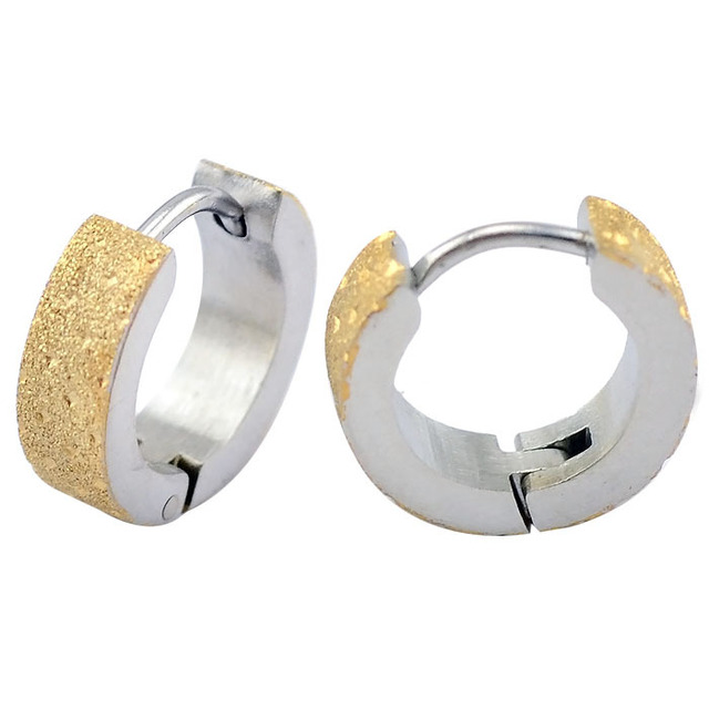 4mm 9mm Fashion Jewelry Accessories Men S In Brushed Stainless Steel Gold Hoop Earring For