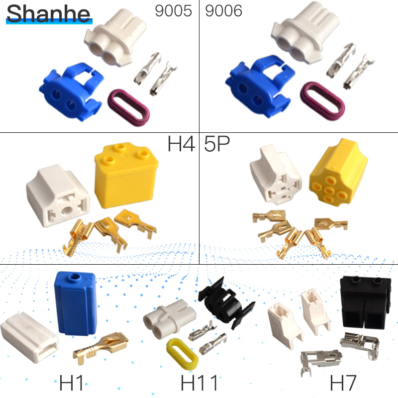 5 Pieces Car Automotive 9006 Male Connector Plug for Headlamp Light Bulb