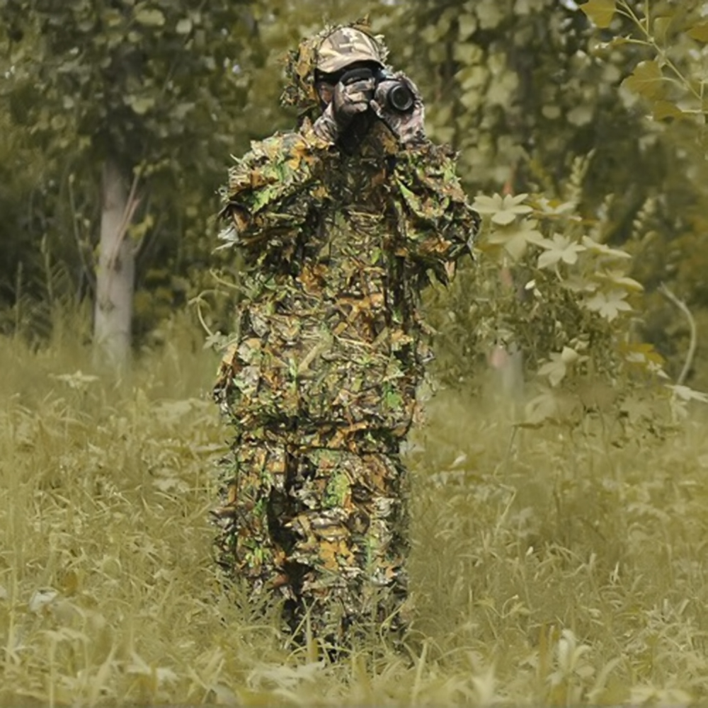 352083e2fb5 Outdoor Durable Woodland Sniper Ghillie Suit Cloak Military 3D Leaf  Camouflage Camo Jungle Hunting Kit