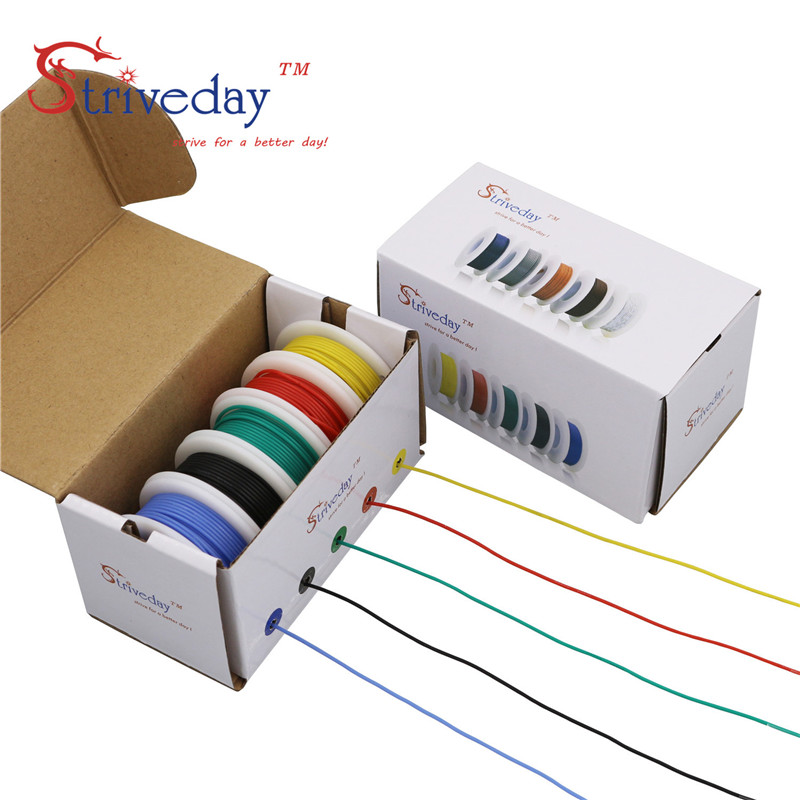 18AWG 50m Flexible Silicone Cable Wire 10 colors box 1 box 2 Stranded Wire Kit Electrical Wire Tinned Copper line DIY in Wires Cables from Lights Lighting