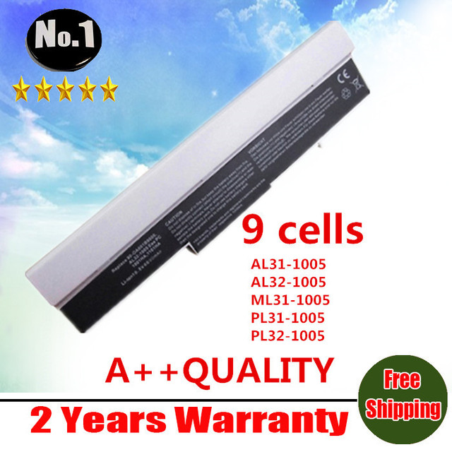 wholesale 9 cells white  Laptop Battery For Asus Eee PC 1001HA 1005 1005H 1005HA AL31-1005 AL32-1005 90-OA001B9000 free shipping