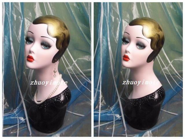 High Quality Fiberglass Vintage Female Mannequin Dummy Head Bust For Earrings Hat Jewelry Display