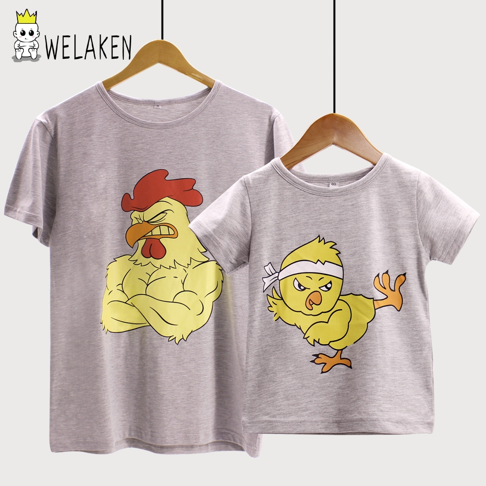 weLaken 2019 New Style Household Matching Outfits T-Shirts Model Cute Cartoon Animal Combating Hen Cotton Youngsters Clothes household matching, household matching outfits, matching outfits,Low-cost household matching,Excessive High quality household...