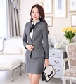 Formal Female Gray Blazer Women Elegant Skirt Suits Jacket Sets Slim Ladies Office Uniform Styles OL