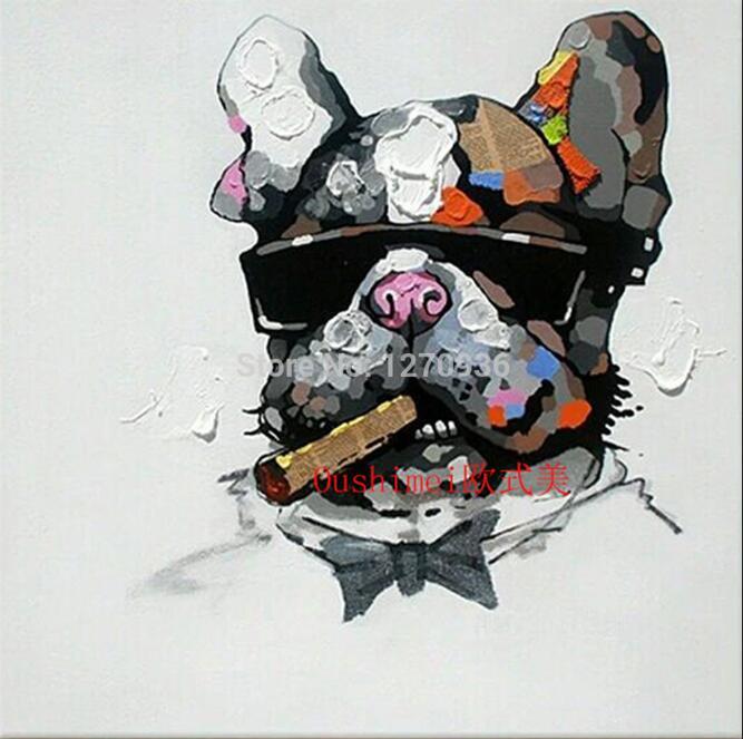 Ручная работа абстрактные животные играть фортепиано лягушка картина для комнаты настенный Декор ПЭТ индивидуальная покраска на холсте бульдог крокодил - Цвет: Smoking Bulldog