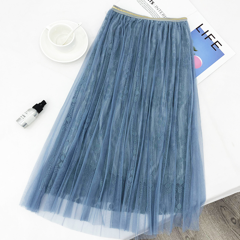 6b 2019 spring new style Japanese and Korean small fresh fairy skirt sweet wild mesh skirt