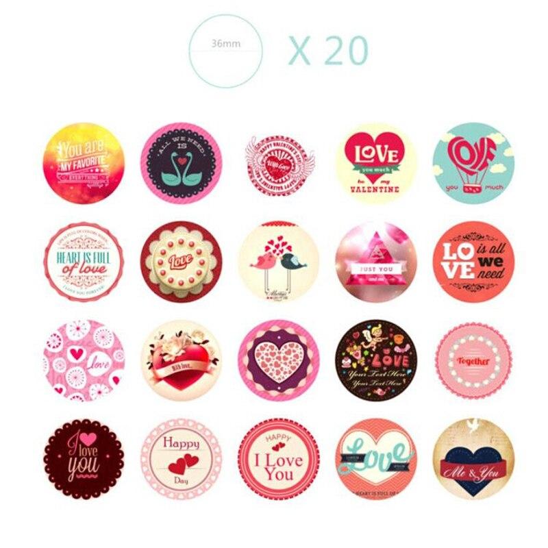 38 Pcsbag Love Heart Print Memo Pads Scrapbook Paper Stickers