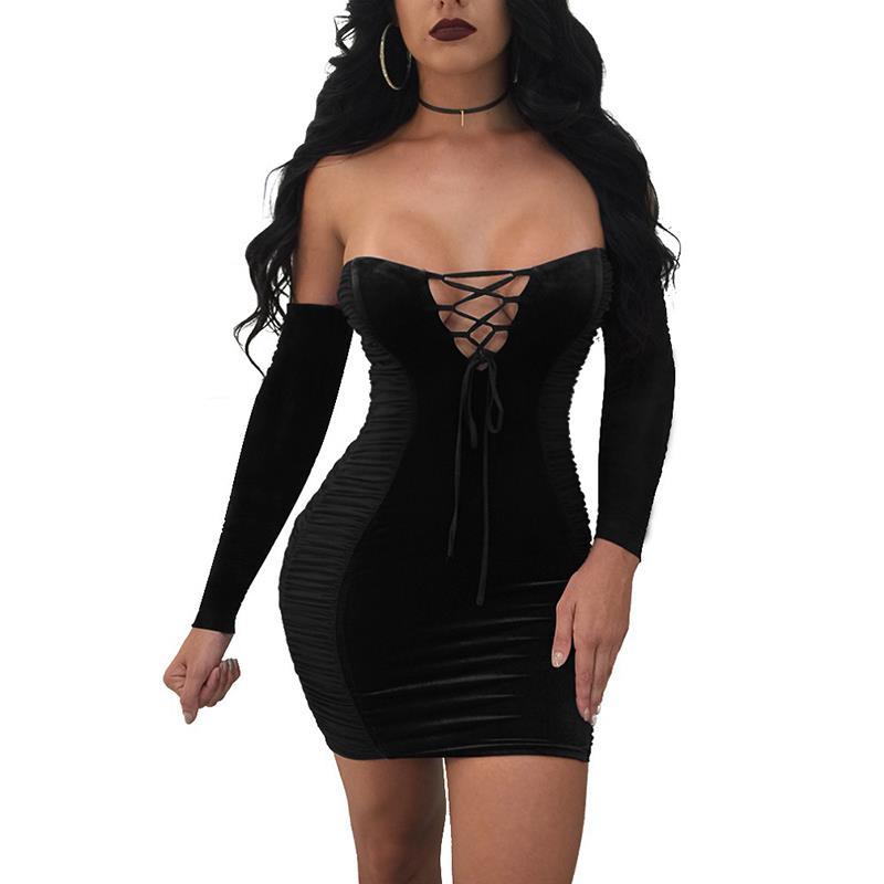 Women Long Sleeve Velvet Dress Off Shoulder Bodycon Dress 2017 Autumn Femme Sexy Party Vestido WS4753X