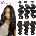 8A Grade Brazilian Virgin Hair With Closure Human Hair Queen Hair Products With Closure Bundle Brazilian Body Wave With Closure