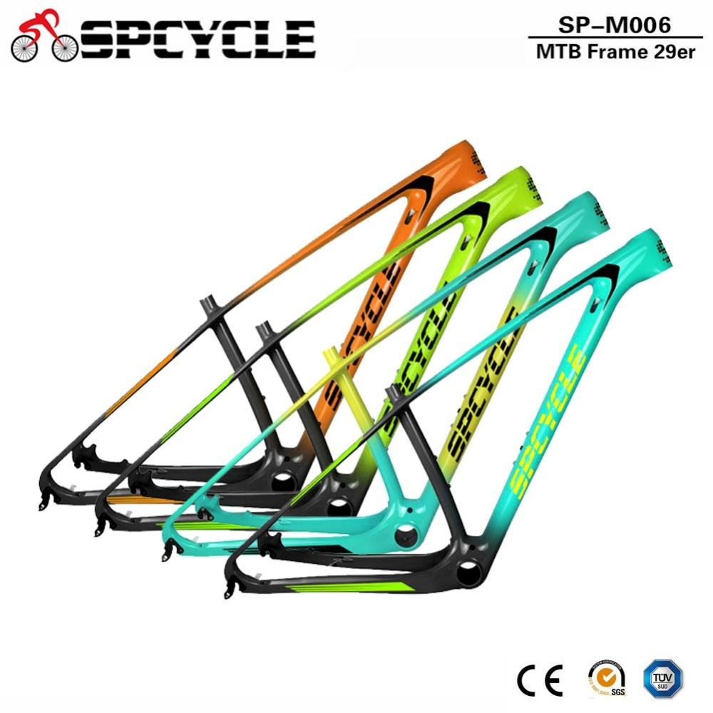 Spcycle 2019 New T1000 Carbon MTB Frame 29er Mountain Bike Carbon Fiber Frameset Compatible With 142