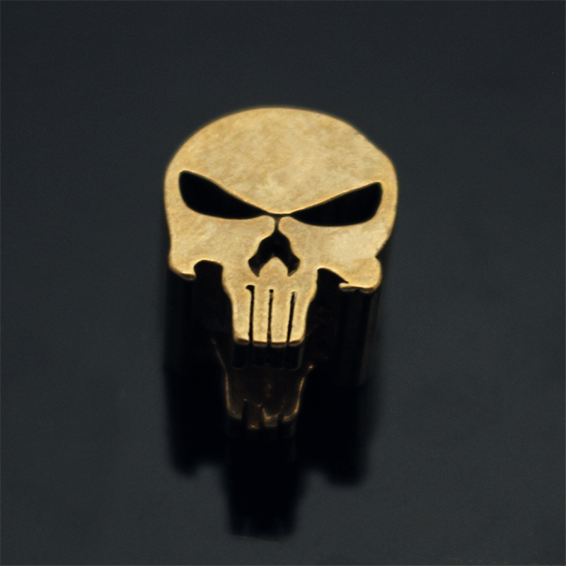 Punisher Skull Brass Knife Beads Pendant Rope Copper Knife Lanyard Fall Rope Outdoors Knife EDC Knife Pendant Multi Tools Beads