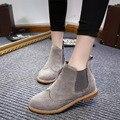 GTIME Botas Tornozelo Mulheres Sapatos de Salto Plana Mulher Botas de Couro De Camurça Brogue recortes Slip on Preto Gray # CXL14