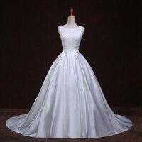 Pearl Vestido De Noiva De Renda Scalloped Neck Princess Vintage Wedding Gowns Tank Bow 2016 Satin
