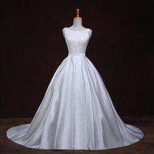 Pearl vestido de noiva de renda Scalloped Neck Princess Vintage Wedding Gowns Tank Bow 2018 Satin Wedding Dresses