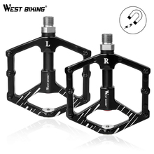 WEST BIKING Aluminum Alloy Bike Pedals 3 Sealed Bearings With Magnetic Bicycle Pedals Non-slip Bike Accessories Road MTB Pedals west biking bike plastic pedals mtb bmx road montane bicycle platform pedals bike lightweight bicycle performance pedals