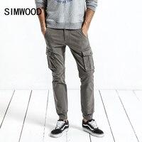Calças Da Carga Dos Homens 2017 Outono SIMWOOD Novos Bolsões Exército Tático Calças Dos Homens Calça Casual Do Vintage Slim Fit Plus Size XC017041
