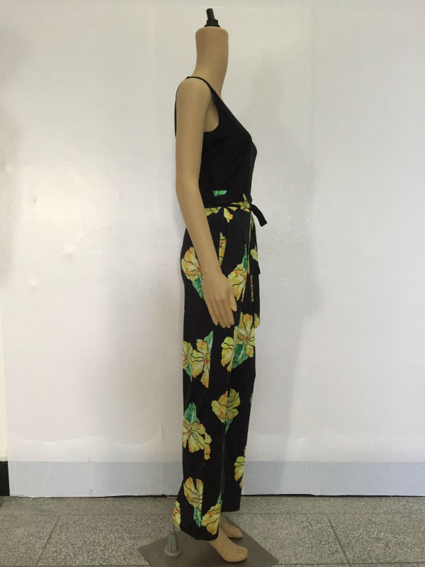 e7a0e5f6aeb0 Summer Hot Selling Casual Print Two Pieces Women Jumpsuit Black Tank Top  Floral Long Pants Ladies Romper-in Jumpsuits from Women s Clothing on ...
