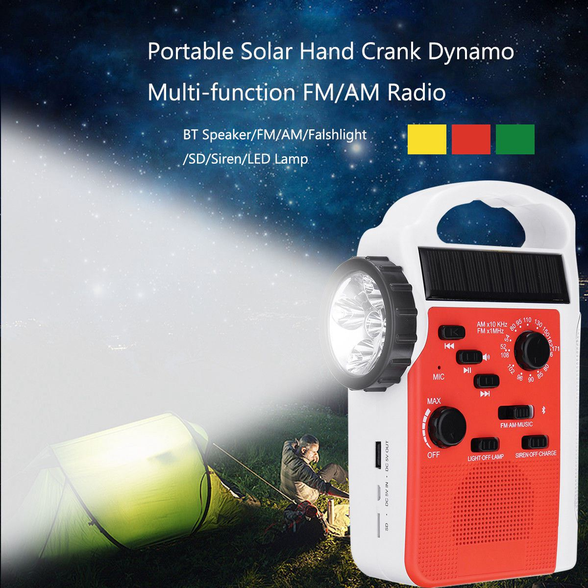 AM/FM Bluetooth Solar Hand Crank Dynamo Outdoor Radio With Speaker Emergency Receiver Mobile 2
