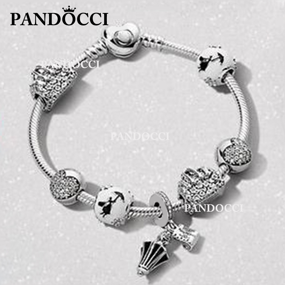 PANDOCCI 100% 925 Sterling Silver Flower Bag Fairy Silhouette Charm Poppins Umbrella Hanging Charm HEART CLIP Love Bracelet SetPANDOCCI 100% 925 Sterling Silver Flower Bag Fairy Silhouette Charm Poppins Umbrella Hanging Charm HEART CLIP Love Bracelet Set