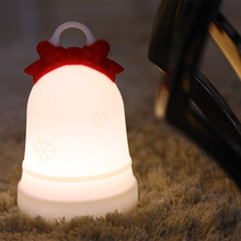 Christmas bell Led Lamps Battery 7 Colors Changing Soft Silicone Baby Nursery Touch Control Lamp Home Decor For Kids