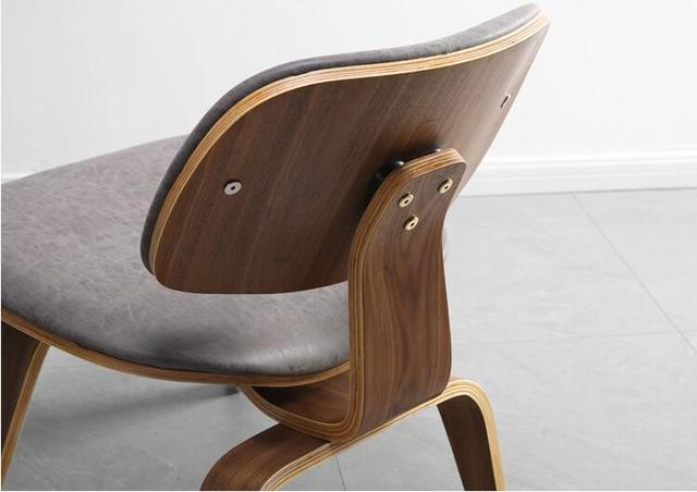 Mid-Century  Lounge Chair w/  Faux Leather Seat & Back Cushion  6
