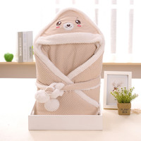 Cute Cartoon Baby Lambskin Package Hold the Newborn Baby Blanket Spring and Autumn Winter Cotton Baby Quilt Thicker Sleeping Bag