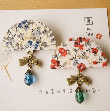 SONGDANWYF Cartoon Cute Fan Shape Glass Beads Pendant Wood Brooch Pins Safety Pins Jeans Bag Decoration Brooches Gift Wholesale