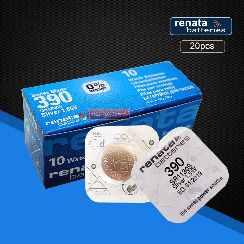 20 шт./упаковка, перезаряжаемые элементы для часов Renata 390 SR1130SW 1130 1,55 в 100% оригинальный бренд renata 390 renata 1130