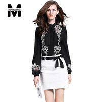 Europe 2016 Autumn Women's Chiffon Embroidery Lantern Sleeve Blouses Shirts Ladies Casual Clothing Tops Sexy Slim Blouses Shirts