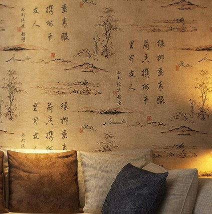 Chinese Style Landscape Ancient Times Impressionistic Classical Tradition Mural Wall Paper Roll  Backdrops PVC Decor 10m