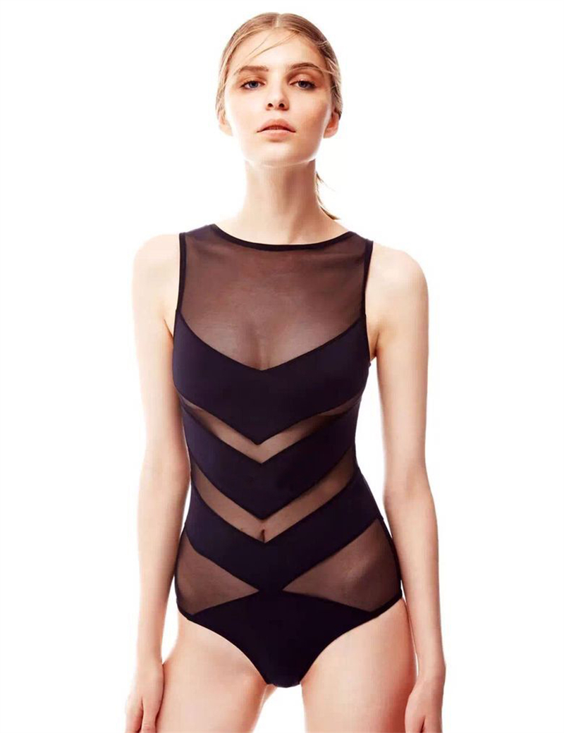 2016 Top Quality Women's Swimming Suit Wire Free No-Padding Sexy Monokini High Waist Swimwear Solid Color Swimsuit One Piece