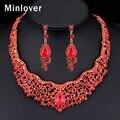Minlover 2016 Beads Africanos Joyería Conjunto Rojo Color Crystal Collar Llamativo y Pendientes para Las Mujeres Bijoux Femme Parure MTL438