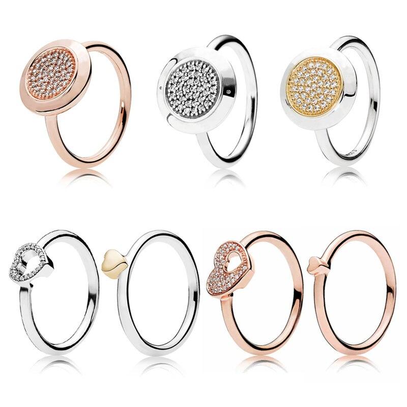 Brillante Corazón del rompecabezas marco anillo con Cubic Zirconia ...
