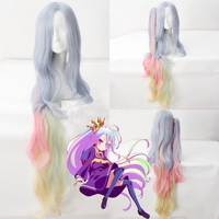 120cm No Game No Life Shiro Cosplay Wig Women Blue Pink Yellow Ombre Synthetic Wavy Hair Long Full Wigs With Chip Ponytail