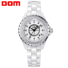 2016 DOM Brand Women Ceramic Band Watches Fashion Casual Ladies Rhinestone Dial Waterproof Wrist Watch Dress Clock Reloj Mujer
