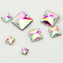Квадратная форма блестящий пришивной Камень Кристалл AB с 2 отверстиями Швейные стеклянные стразы для DIY платье одежда украшения