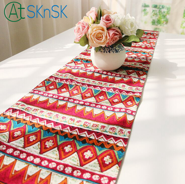 Fashion Southeast Asian Style Table Runner Mediterraneanst Style Home  Decoration Fabric Cotton Linen Table Flags With